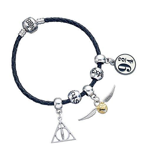 Harry Potter negro pulsera con 3x Charms & Hechizo perlas