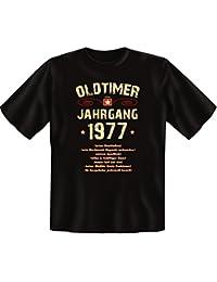 Geschenkidee zum 40. Geburtstag witziges Geburtstagsgeschenk :-: Herren Männer kurzarm Geburtstags T-Shirt :-: Motiv: Oldtimer / Jahrgang 1977 :-: auch in Übergrößen / Farbe: schwarz