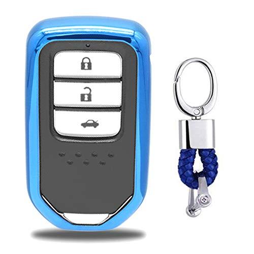 Azul Funda de TPU Suave para Llave + Llavero para Coche Honda Civic Accord Pilot CR-V Odyssey 2 3 4 5 Button