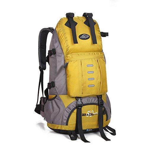 Im Freienbergrucksackbeutel Männer und Frauen reisen Tasche Wandern Camping Rucksack 50L Gelb