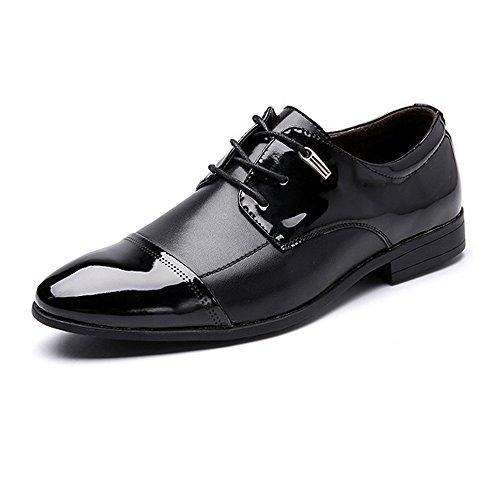 Hilotu Zweifarbige braune und schwarze Lack-Oxford-Schuhe für Herren Formale Cap Toe Lace-Up Smoking Kleid Schuhe (Color : Schwarz, Größe : 46 EU) Cap Toe Loafer
