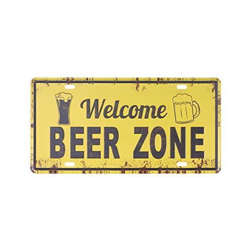 Vintage Eisen Zeichen Eisen Malerei Vintage Plakette Poster mit Worten Wand Kunst Dekor für Bar nach Hause (Bier Zone) (Worten Dekor Hause)