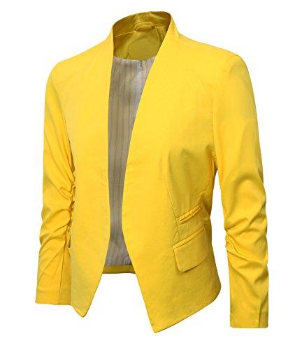 Damen Falten Ärmel Blazer Jacke Yellow