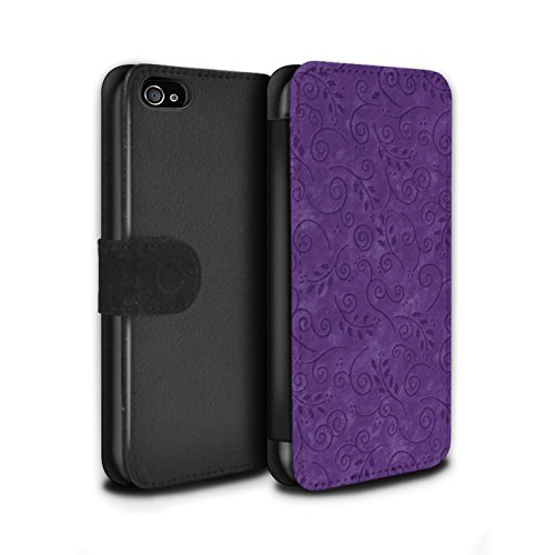 Stuff4 Coque/Etui/Housse Cuir PU Case/Cover pour Apple iPhone 4/4S / Rouge Design / Motif Feuille Remous Collection Pourpre