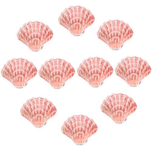 FBSHOP(TM) 31mm 10pcs Rosa Lovely Schale FormKeramik Türknauf /MöbelKnopf /Möbelgriffe für Küche Schränke, Kleiderschrank, Kommode, Schublade,Schranktür Schlafzimmer und Badezimmer KinderZimmer Dekor etc.