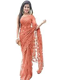 Swara Fashion Women's Nylon Net Thread Work Saree(SFPSN-111-C_Peach)