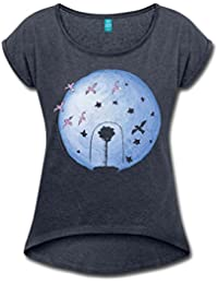 Spreadshirt The Little Prince Rose Under Cover and Earth Women's T-Shirt With Rolled up Sleeves