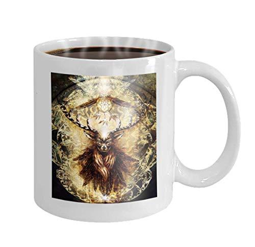 Taza de café de 11 onzas Ciervo sagrado Espíritu Atrapasueños Plumas Antiguo fondo ornamental Hermoso regalo de cerámica de novedad Té C