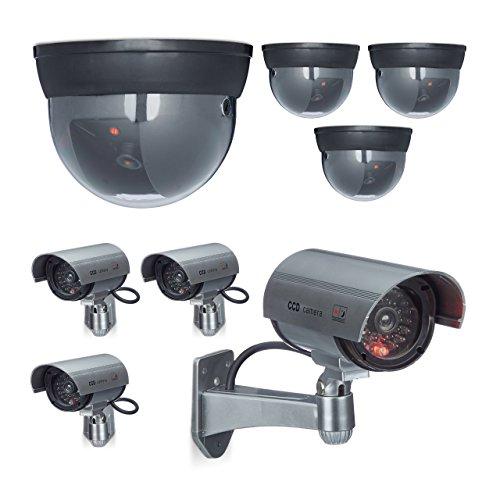 8 x Kamera Attrappe im Sicherheits-Set, 4 Dome Kameras, 4 CCD-Kameras, Mit LED-Licht, Verstellbarer Kamerawinkel (4 Ccd-kameras)