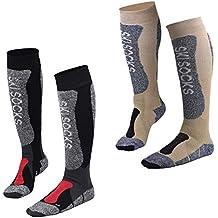 Fitself 1 Par/2 Pares Calcetines de Esqui Hombre Mujer Thermolite Snowboard Ciclismo Alto Rendimiento