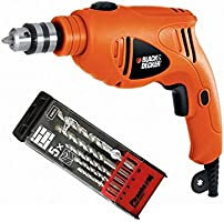Black and Decker 480W 10mm Single Speed Hammer Drill with Pirhana 5 Pieces High Performance Masonry Drill Bits,...