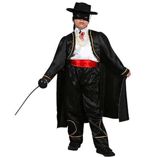Vestito costume maschera di carnevale bambino - zorro vendicatore - taglia 8/9 anni - 115 cm