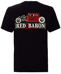 King Kerosin Herren T-Shirt Retro Style Back Print Red Baron Rundhals Kurzarm Regular Fit Red Baron