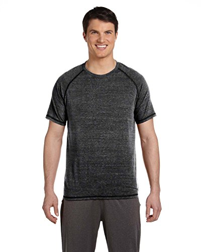 Short Sleeve Performance Raglan-t-shirt (All Sport Men´s Performance Triblend Short Sleeve Tee, Größe:S, Farbe:Charcoal Heather Triblend)