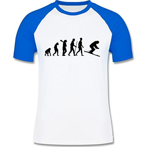 Evolution - Skiabfahrt Evolution - zweifarbiges Baseballshirt für Männer Weiß/Royalblau