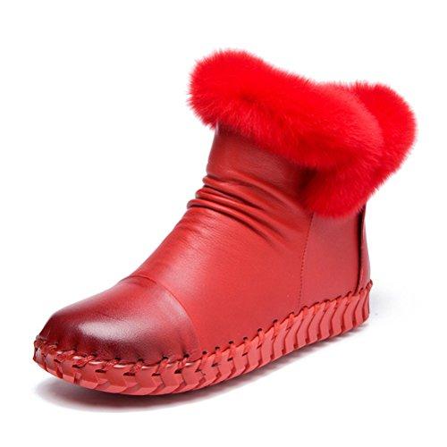 Vogstyle Femme Bottes Pure Couleur en Cuir Vintage Handmake Style-4 toison Rouge
