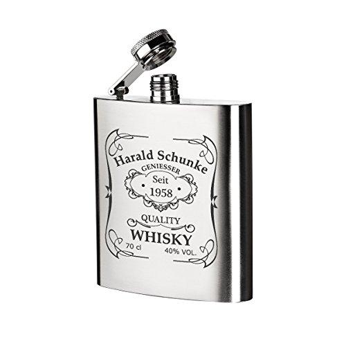 polar-effekt Edelstahl Flachmann mit Gravur - Schnapsflasche 200 ml - Geschenk-Idee zum Geburtstag oder Vatertag - Motiv Quality Whiskey