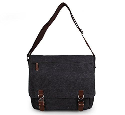 YAAGLE Herren Freizeit Kuriertasche Canvas Schultertasche Reisetasche Umhängetasche Hüfttasche-schwarz schwarz
