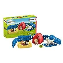 Schleich- Figurine Enclos à Chiots Farm World Playset, 42480, Multicolore