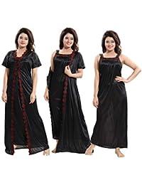 TUCUTE Women's 2pcs Nighty/Nightdress/Nightwear (Gown & Robe) Size : XL Pink