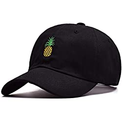 BESTOYARD Sombrero de perfil bajo de la gorra de béisbol del casquillo de la tela cruzada del algodón de la tela cruzada de la sarga de la piña (negro)