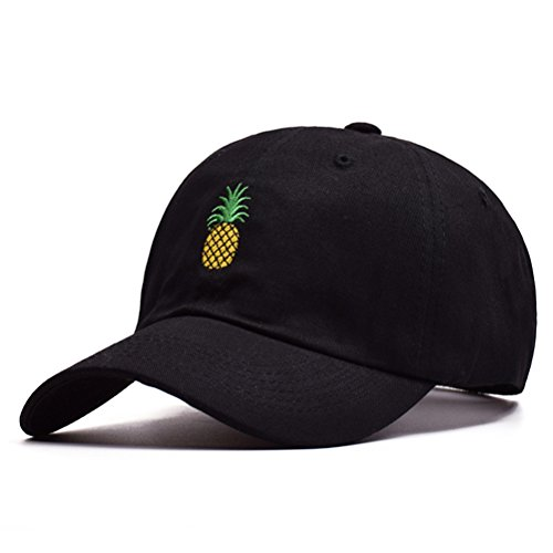 BESTOYARD Ananas Stickerei Twill Cotton Peaked Cap Baseball Cap Low Profile Hut für Frauen Männer (schwarz) Low-profile Twill Hut