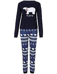 FRAUIT Familia Navidad Pequeño Oso Blanco Top + Pantalones de Copo de Nieve Conjunto Familiar Ropa Familiares Ropa de Dormir Traje a Juego de Navidad Mujer Hombre Bebé Niño Niña de Pijamas