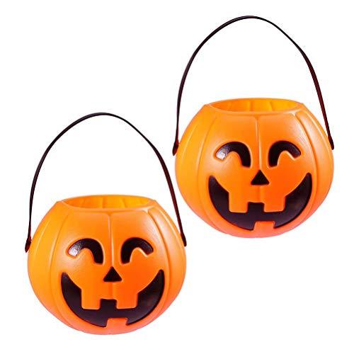 Toyvian Halloween Kürbis Eimer Kunststoff Candy Basket Süßes oder Saures Kürbis Candy Eimer Halter 17cm 2 Stk