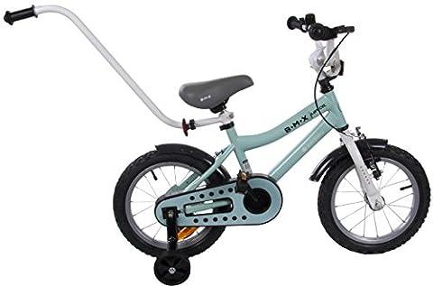 Vélo BMX Junior Enfant avec Stabilisateurs Poignée de Poussée et Frein Avant Roues 14 Pouces