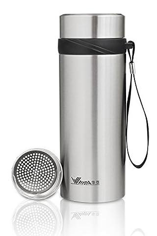 Teebereiter aus Rostfreiem Edelstahl mit Tee-Ei: 580ml Teeflasche Vakuum Thermobecher | Tee & Kaffee Reisbecher | Obst-Infuser Trinkflasche Umweltfreundlicher von