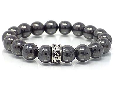Bracelet noir pour homme avec perle centrale en acier inoxydable et perles en hématite