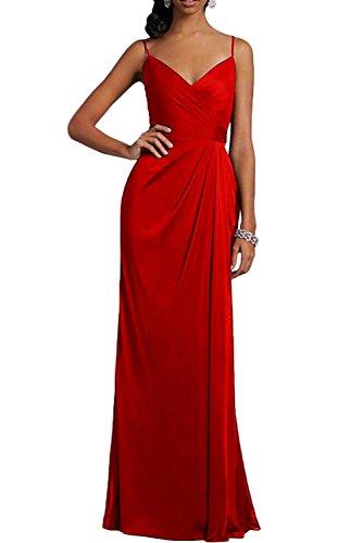 Missdressy Elegant Sexy A-Linie Lang V-Ausschnitt Spaghetti Chiffon Abschlusskleider Abendkleider Brautmutterkleider Rot