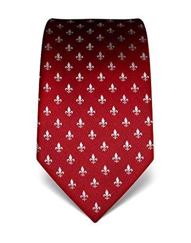 ren Krawatte reine Seide Fleur-de-Lis Muster edel Männer-Design zum Hemd mit Anzug für Business Hochzeit 8 cm schmal/breit weinrot ()