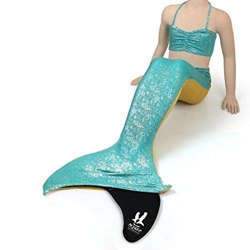 uramermaid meerjungfrau-schwänze zum Schwimmen - mit , Mädchen, Kinder, 3 Stück Badeanzug Kostüm Set Pink Rainbow Aquamarin Grün Blaues Gold Lila Premium Elasthan holographisch Blasen (Bikini-blase)