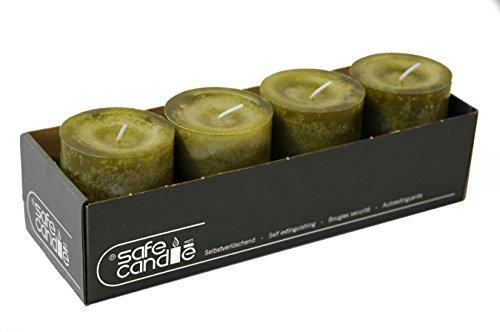 Romantische Trendkerze mit intensivem Licht (Safe Candle) - Olive Grün - Höhe 9cm / Ø 7cm - 4...