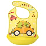 #2: Warmingecom Removable Baby Imitation Silicone Waterproof Cartoon Rice Bibs(Yellow Taxi)