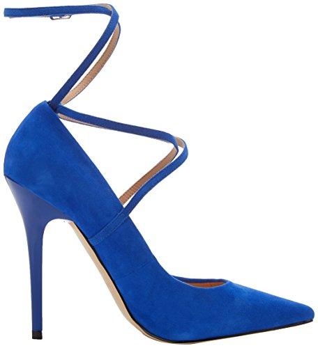 Unbekannt Damen Hilda W Riemchen Pumps Blau (Blaues Wildleder)