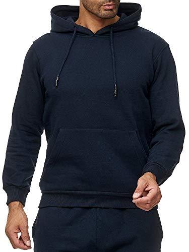 Smith&Solo Herren Kapuzenpullover - Sweatsshirt Pullover Rundhals - Langarm - Slim - Fit - Training - Hoodie - Pulli - Hochwertige Baumwollmischung, Navykapuze, XL -
