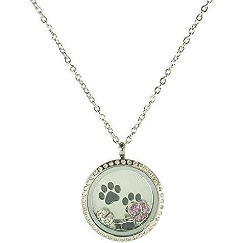 Acero inoxidable flotante Locket Collar Círculo con piedras 6Charms, 1Plate, y cadena (Plata)