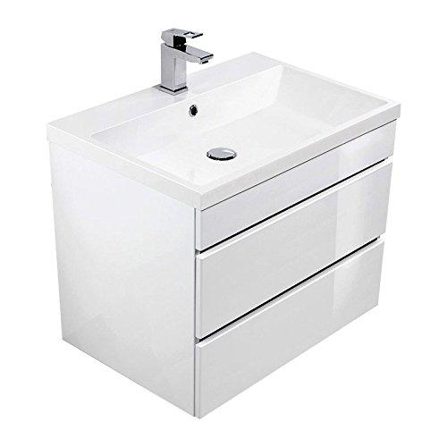 Lomado Badezimmermöbel Waschtisch 60cm ● mit Unterschrank in Hochglanz weiß ● Softclose Schubkästen ● Minerlaguss-Waschbecken ● Made in Germany