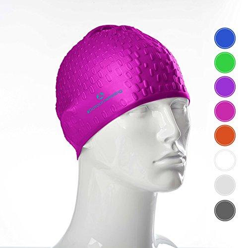 #DoYourSwimming® Badehaube/Schwimmhaube   für Erwachsene & Jugendliche   weiches Silikon (100% wasserdicht) - elastische Badekappe/Schwimmkappe Drops« Pink