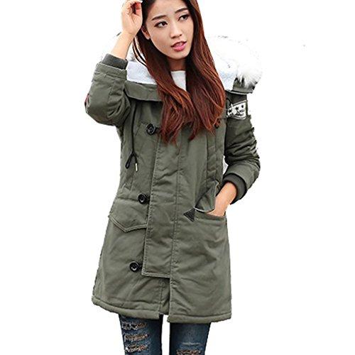 WTUS - Hiver - Chaud - Manches Longues- Manteau - Femme Veste à Capuche En Coton Vert Vert