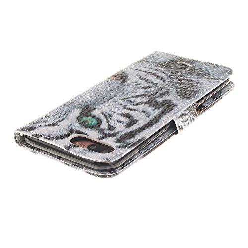AllDo Coque de Fonction Support pour iPhone 7 Etui à rabat en PU Cuir Housse de Protection Cas Portefeuille Folio Flip Wallet Case Coque Motif Créatif Etui Ultra Mince Housse Poids Léger Couverture An Tigre Blanc