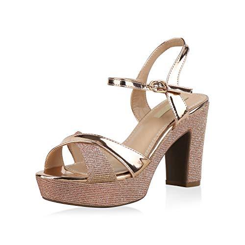SCARPE VITA Damen Plateau Sandaletten Glitzer High Heels Metallic Party Schuhe 173354 Rose Gold 41 -