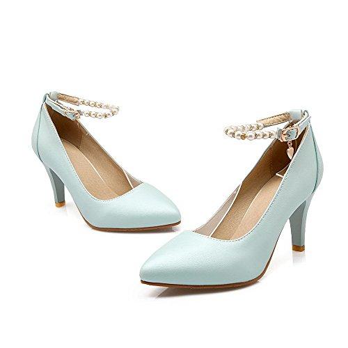 AgooLar Femme Boucle Pointu Stylet Couleur Unie Chaussures Légeres Bleu de Lac