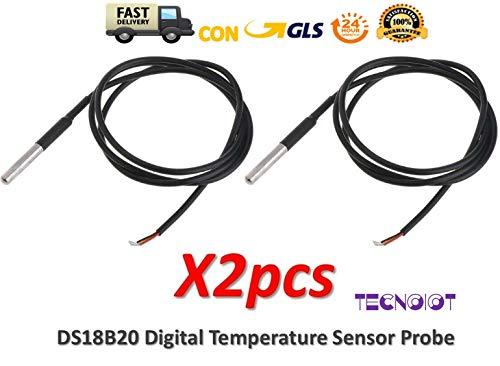 2pcs DS18B20 Waterproof Digital Temperature Sensor Probe NTC Thermistor Thermal -