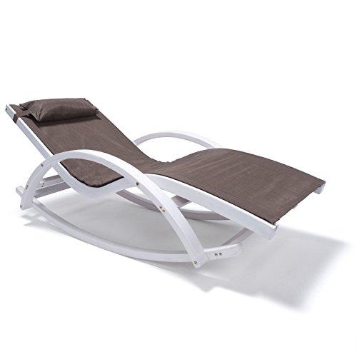 Relax Schaukelstuhl Rio | 100% wetterfeste Gartenliege | Relaxliege mit Armlehnen | Gartenmöbel aus Holz weiß gestrichen | Stuhl Bespannung braun