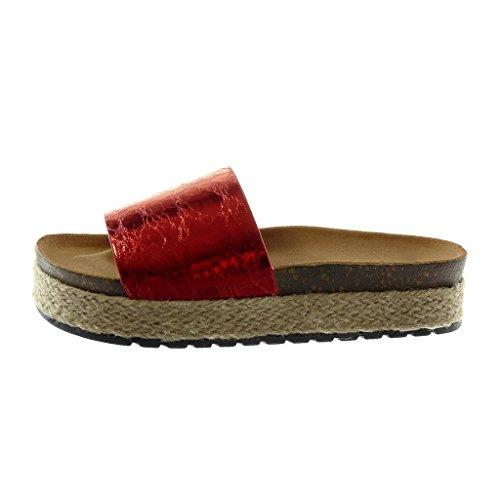 Angkorly Scarpe Moda Sandali Mules Slip-On Zeppe Stile Vintage Donna Lucide Corda Sughero Tacco Zeppa Piattaforma 4 cm Rosso
