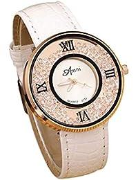 Clásicos Mujer Cuarzo Reloj,Scpink Moda Simple Metal Retro Redondo Bisel de Acero Inoxidable Analógico