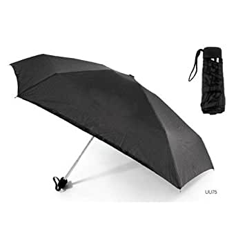 Ladies/Womens Light Weight Strong Mini/Micro Small Umbrella (Matching Sleeve) (See Description) (Black)
